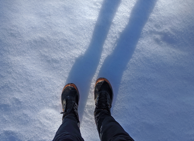 standing on snow