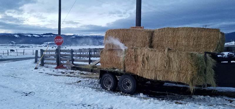 smoldering hay bales