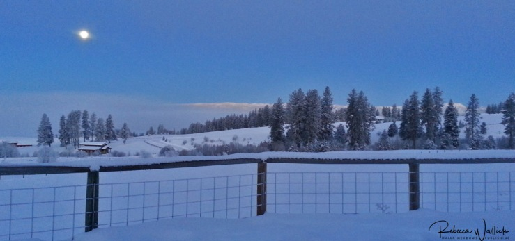 moon setting over snowy landscape