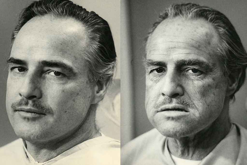 Marlon Brando before and after Godfather makeup