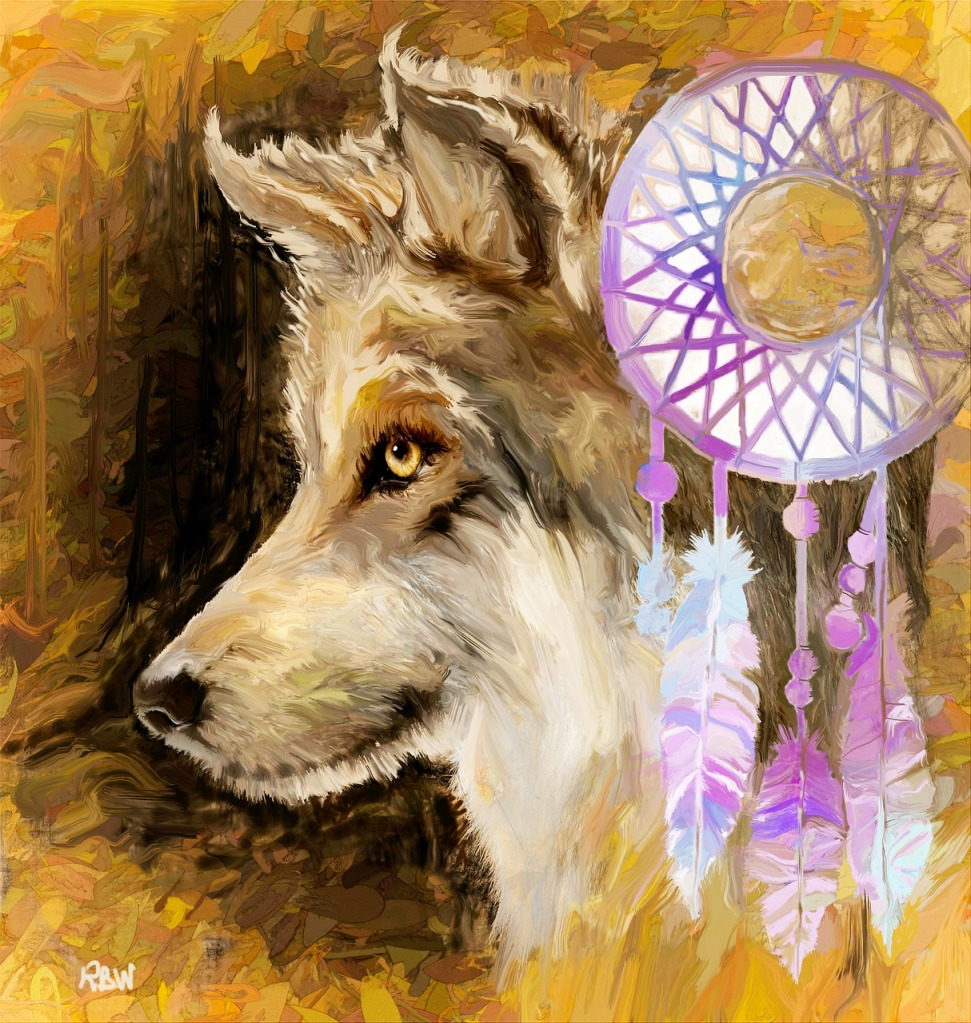 painting of wolf and dreamcatcher