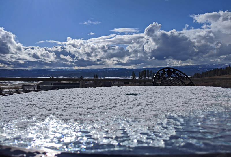 snow on table, clouds