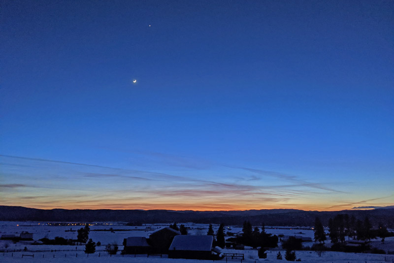 The moon and Venus at sunset