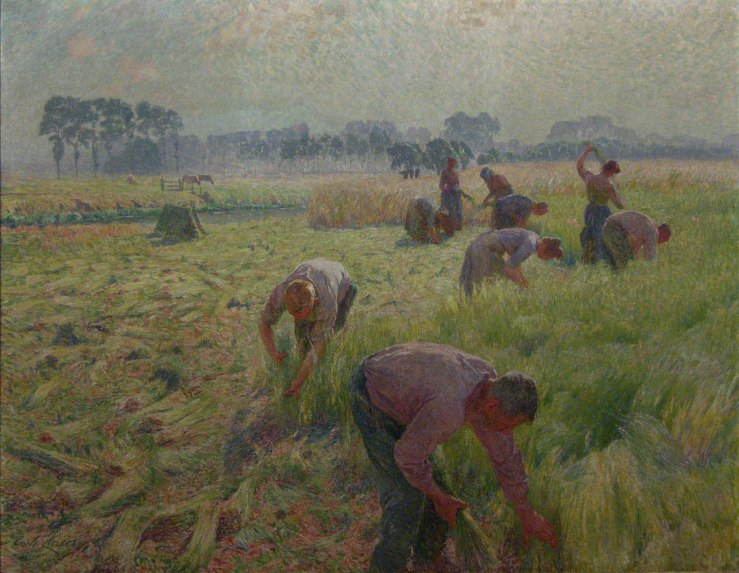 painting of flax harvest