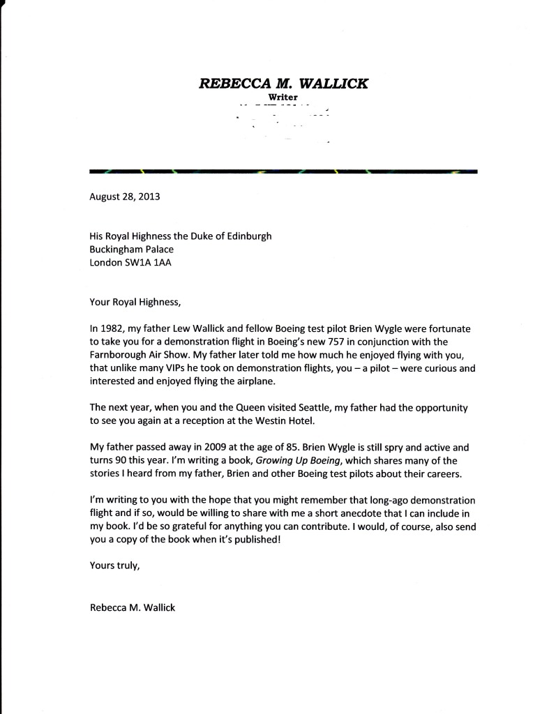 Letter to Prince Philip dated August 28, 2013.