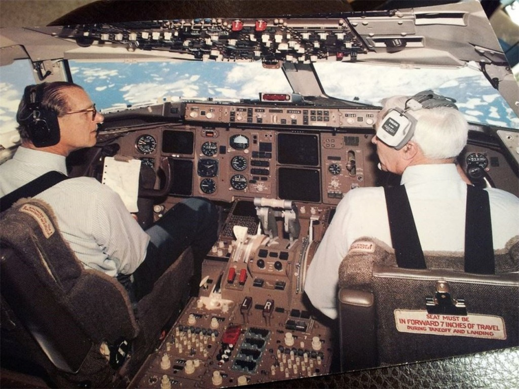 Prince Philip & Lew Wallick in 767 cockpit, in flight