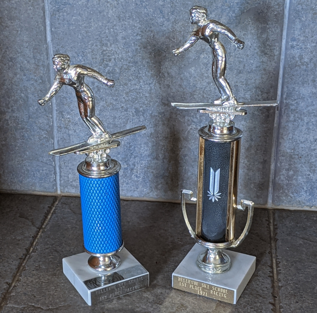 Downhill ski racing trophies 1971 and 1972.