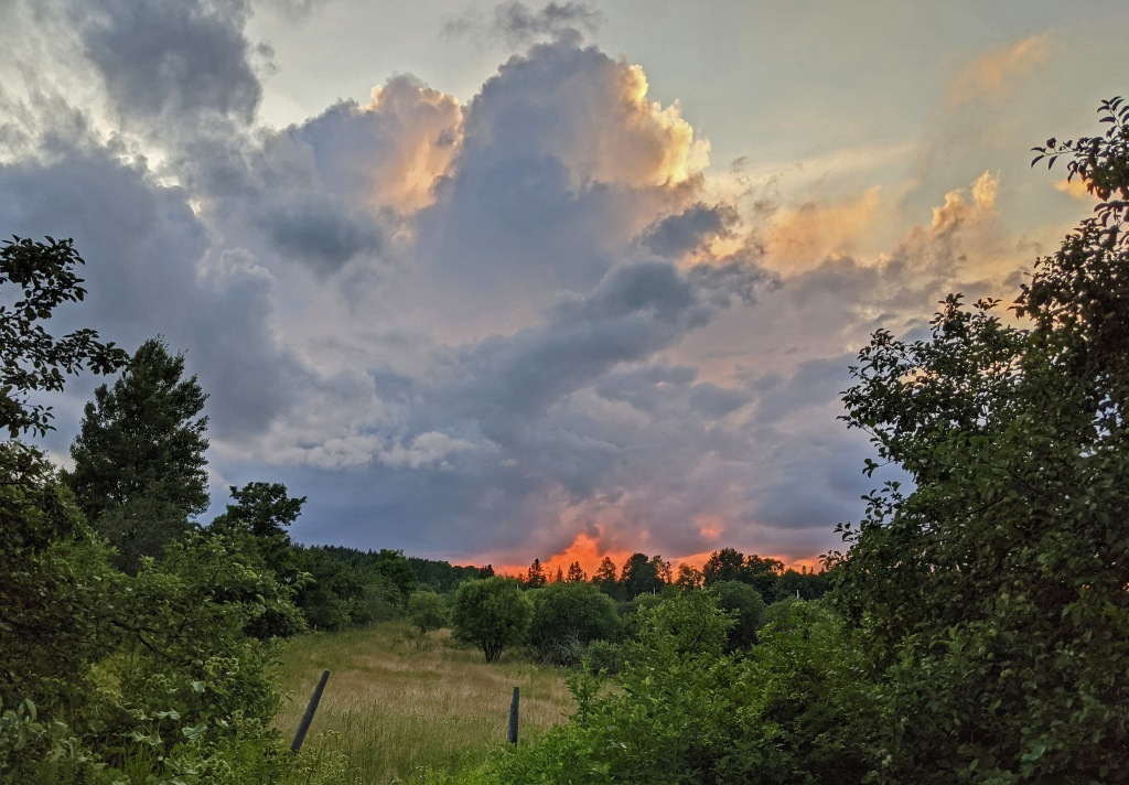 Sunset and storm clouds.